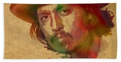 Johnny Depp Watercolor Portrait On Worn Distressed Canvas Beach Sheet by Design Turnpike