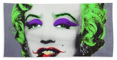 Joker Marilyn With Surreal Pipe Beach Towel by Filippo B
