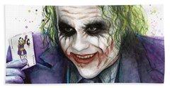 Joker Watercolor Portrait Beach Towel by Olga Shvartsur