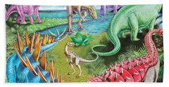Jurassic Swamp Variant 1 Beach Sheet by Mark Gregory
