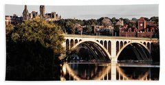 Key Bridge And Georgetown University Washington Dc Beach Towel by Bill Cannon