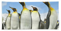 King Penguins Looking Beach Sheet by Yva Momatiuk John Eastcott