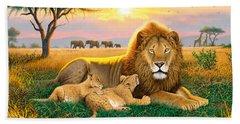 Kings Of The Serengeti Beach Sheet by Chris Heitt