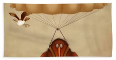 Kiwi Bird Kev Parachuting Beach Towel by Marlene Watson