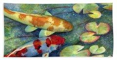 Koi Garden Beach Towel by Hailey E Herrera