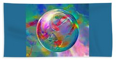 Koi Pond In The Round Beach Towel by Robin Moline