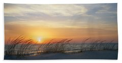 Lake Michigan Sunset With Dune Grass Beach Sheet by Mary Lee Dereske