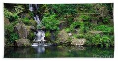 Landscape Waterfall Beach Sheet by Marvin Blaine
