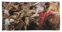 Lapiths And Centaurs Oil On Canvas Beach Towel by Peter Paul Rubens