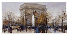 L'arc De Triomphe Paris Beach Sheet by Eugene Galien-Laloue