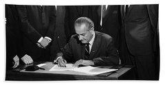 Lbj Signs Civil Rights Bill Beach Sheet by Underwood Archives Warren Leffler