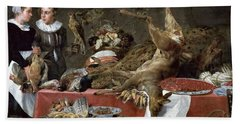 Le Cellier Oil On Canvas Beach Towel by Frans Snyders or Snijders