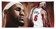 Lebron James Artwork 2 Beach Towel by Sheraz A