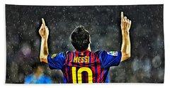 Leo Messi Poster Art Beach Towel by Florian Rodarte