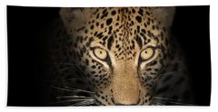 Leopard In The Dark Beach Sheet by Johan Swanepoel