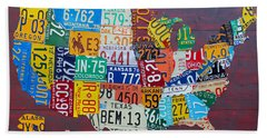 License Plate Map Of The United States Beach Towel by Design Turnpike