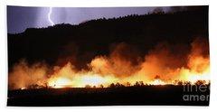 Beach Towel featuring the photograph Lightning During Wildfire by Bill Gabbert