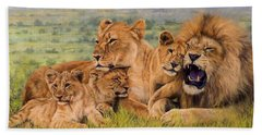 Lion Family Beach Towel by David Stribbling