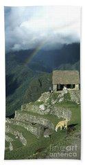 Llama And Rainbow At Machu Picchu Beach Sheet by James Brunker