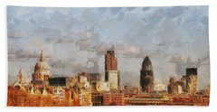 London Skyline From The River  Beach Towel by Pixel Chimp