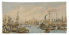 Looking Towards London Bridge Beach Sheet by William Parrot