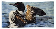 Loon In Flight Beach Sheet by Brenda Brown