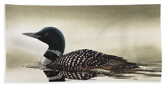 Loon In Still Waters Beach Towel by James Williamson