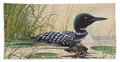Loon's Tranquil Shore Beach Towel by James Williamson