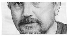 Louis Ck Portrait Beach Sheet by Olga Shvartsur