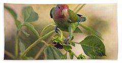 Lovebird On  Sunflower Branch  Beach Sheet by Saija  Lehtonen