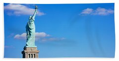 Low Angle View Of A Statue, Statue Beach Towel by Panoramic Images