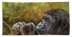 Lowland Gorilla 2 Beach Sheet by David Stribbling