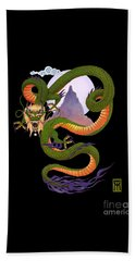 Lunar Chinese Dragon On Black Beach Towel by Melissa A Benson
