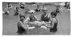 Mah-jong In The Pool Beach Towel by Underwood Archives