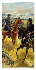 Major General George Meade At The Battle Of Gettysburg Beach Sheet by Henry Alexander Ogden