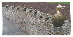 Make Way For Ducklings Beach Towel by Barbara McDevitt
