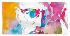 Malcolm X Watercolor Beach Towel by Dan Sproul