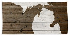 Map Of Michigan State Outline White Distressed Paint On Reclaimed Wood Planks Beach Sheet by Design Turnpike