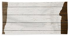 Map Of Oregon State Outline White Distressed Paint On Reclaimed Wood Planks Beach Towel by Design Turnpike