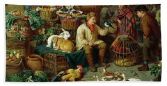 Market Scene Beach Towel by Henry Charles Bryant