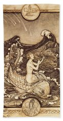 Mermaid And Dolphin From A Midsummer Nights Dream Beach Towel by Arthur Rackham