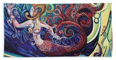 Mermaid Gargoyle Beach Towel by Genevieve Esson