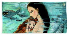 Mermaid Mother And Child Beach Sheet by Shijun Munns