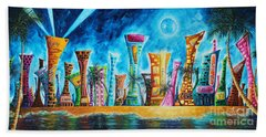 Miami City South Beach Original Painting Tropical Cityscape Art Miami Night Life By Madart Absolut X Beach Towel by Megan Duncanson