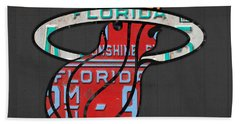 Miami Heat Basketball Team Retro Logo Vintage Recycled Florida License Plate Art Beach Towel by Design Turnpike