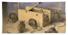 Mice And Huntley Palmers Superior Biscuits Beach Towel by Agnes Louise Holding