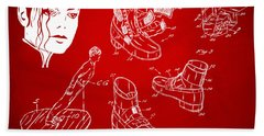 Michael Jackson Anti-gravity Shoe Patent Artwork Red Beach Sheet by Nikki Marie Smith