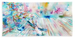 Michael Jackson - Watercolor Portrait.8 Beach Sheet by Fabrizio Cassetta