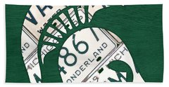 Michigan State Spartans Sports Retro Logo License Plate Fan Art Beach Towel by Design Turnpike