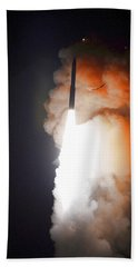 Beach Towel featuring the photograph Minuteman IIi Missile Test by Science Source